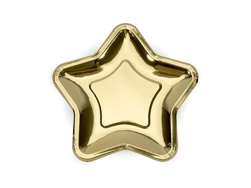 Talerzyki Gwiazdka, złote, 18cm -6 szt.