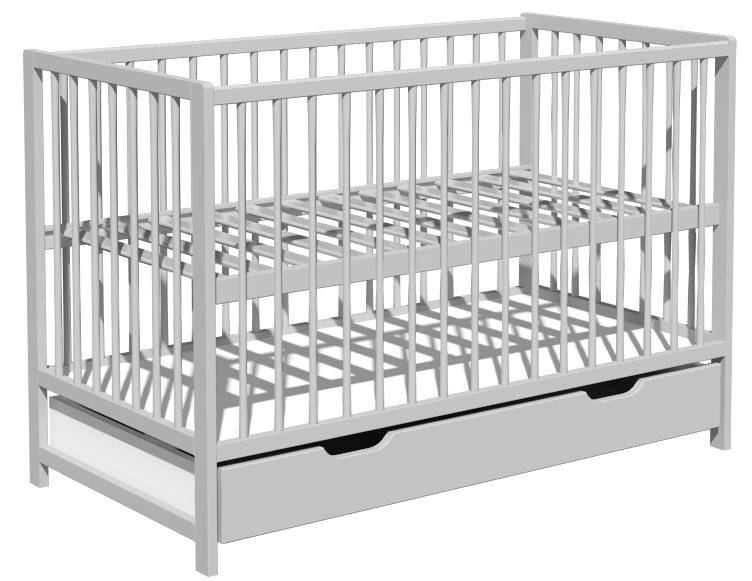 Łóżeczko dziecięce DOMINIK szuflada 120x60cm szary