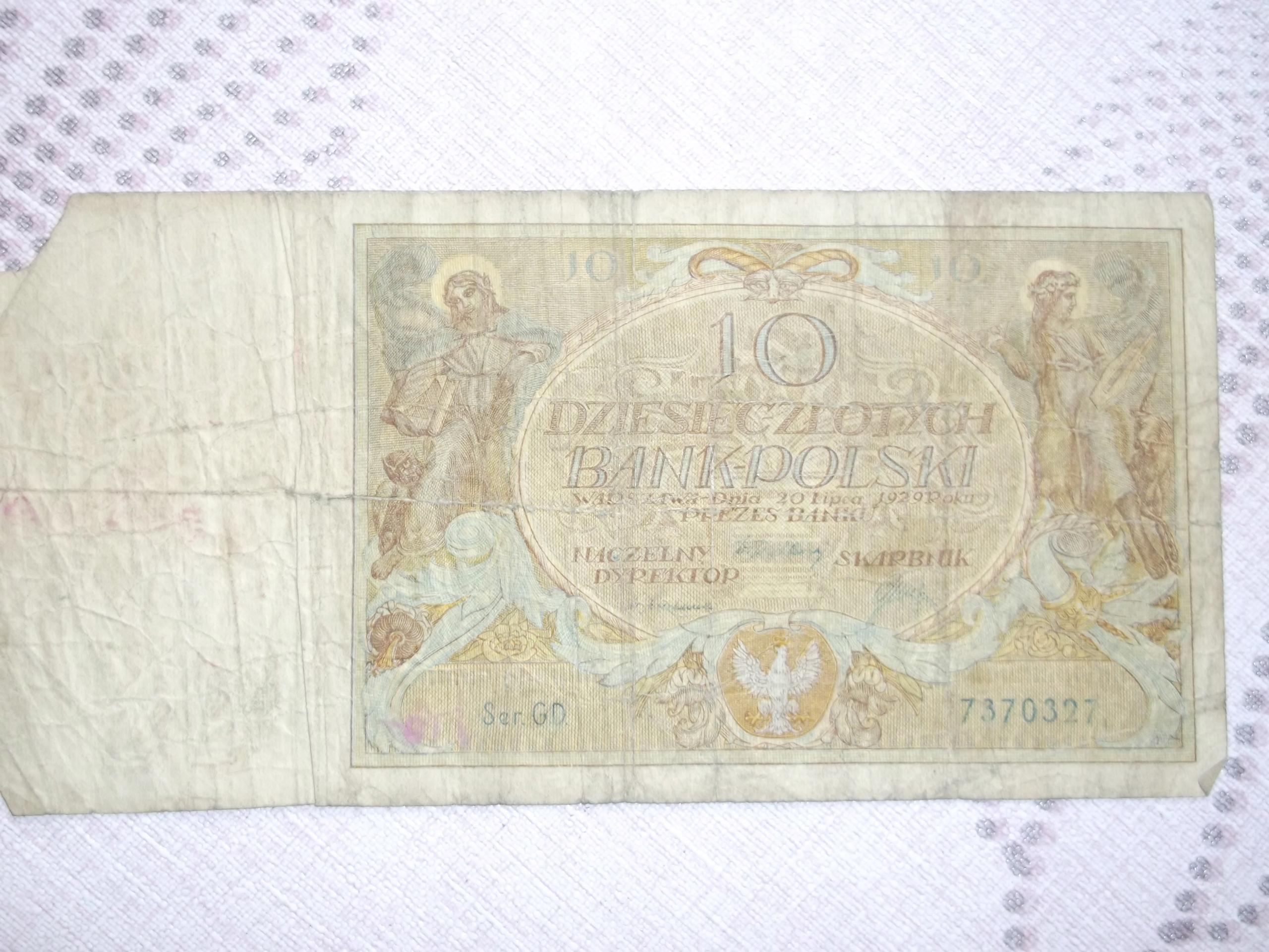 Banknot Stary - 10 Złotych 1929r.