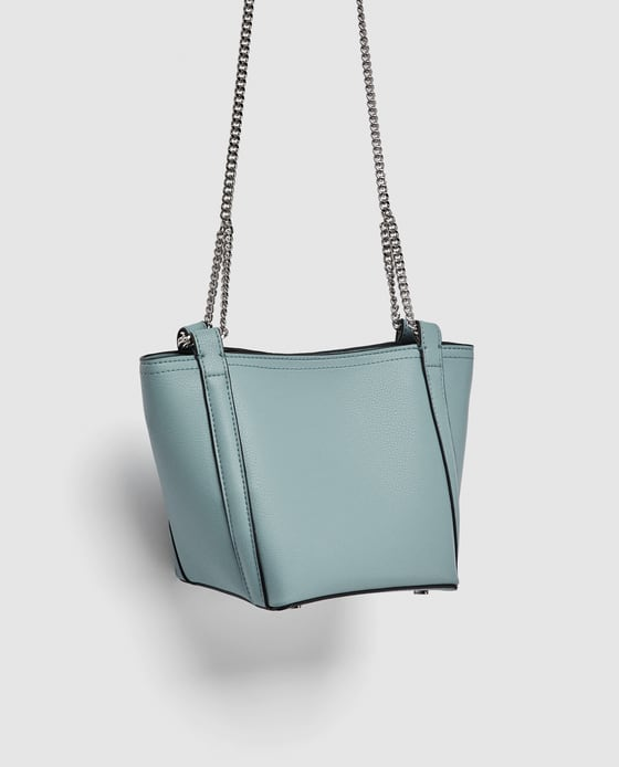02d08ba7f7008 Mała torebka worek na łańcuszku niebieska ZARA % - 7336792270 ...