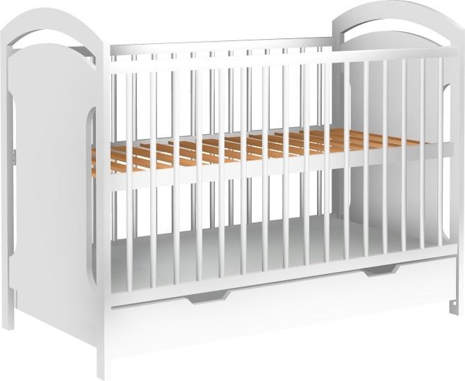 Łóżeczko dziecięce ADAŚ szuflada 120x60 biały