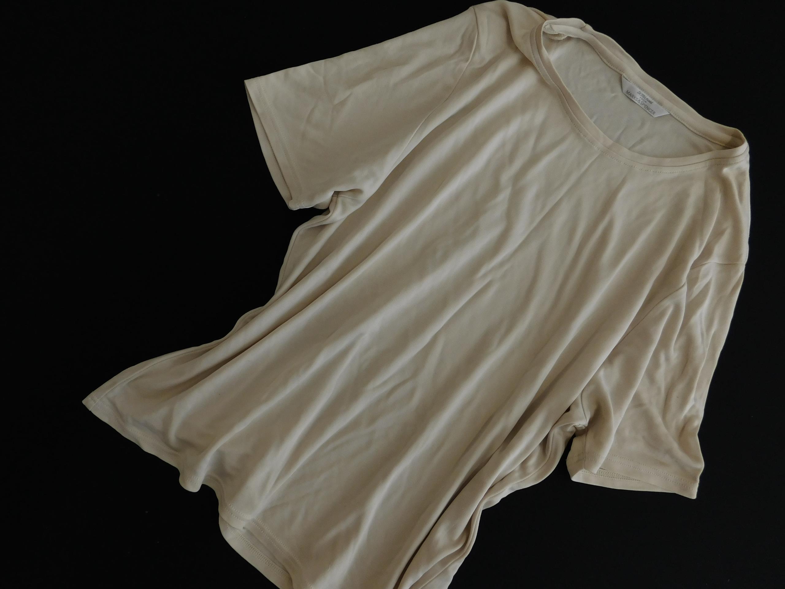 2405p10 M&S klasyczna BLUZKA t shirt IVORY 44