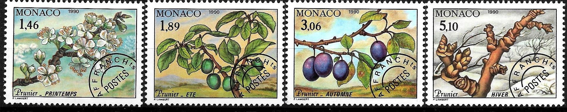 FL907 1990 FLORA drzewa, owoce zn.** Monako