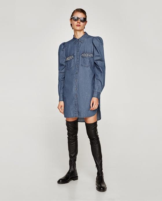 6e0d4cfa Piękna sukienka jeansowa ZARA ozdobne zdobienie M - 7177098449 ...