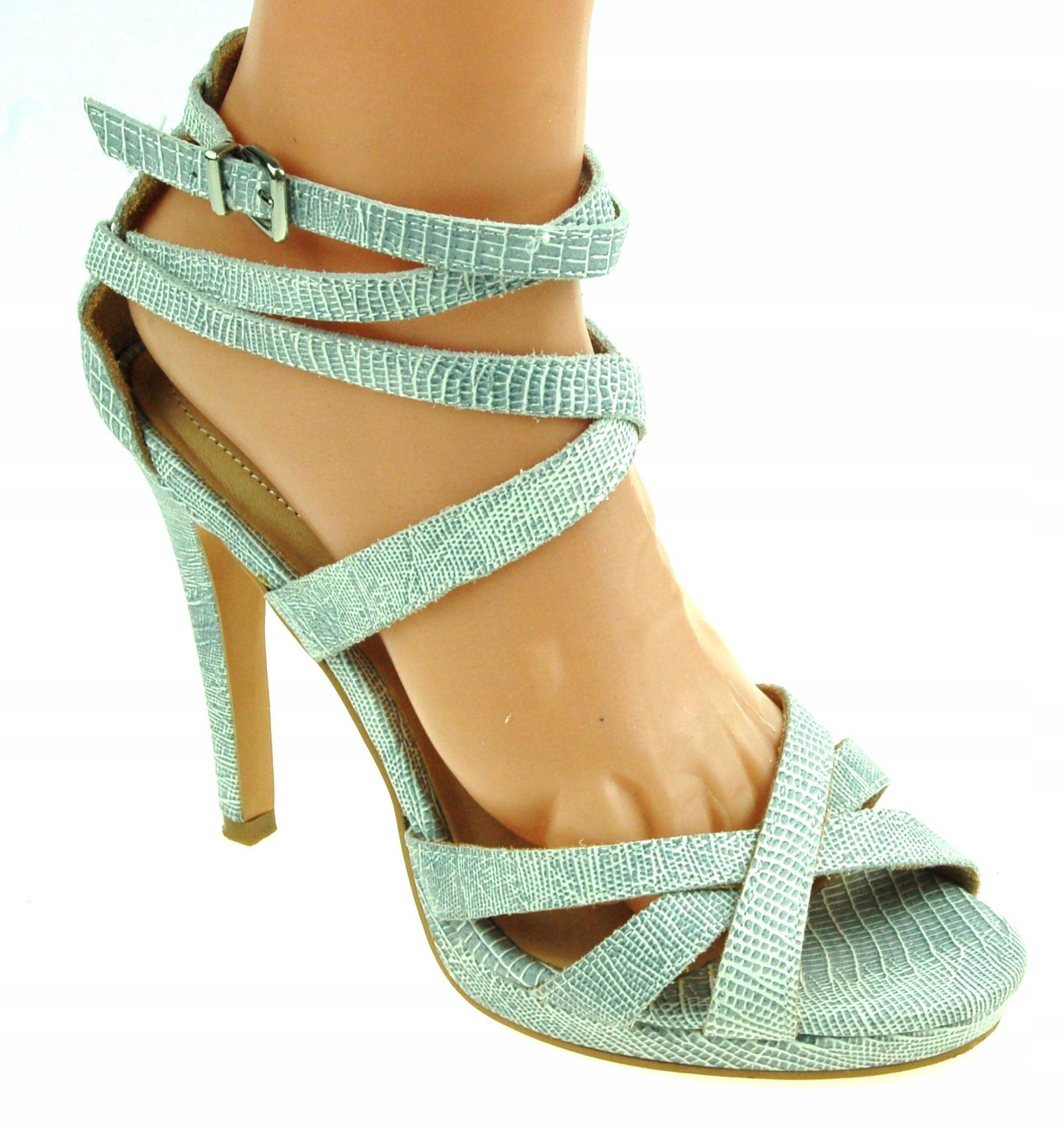 H&M 39 DAMSKIE sandały skórzane szpilki 4S1777