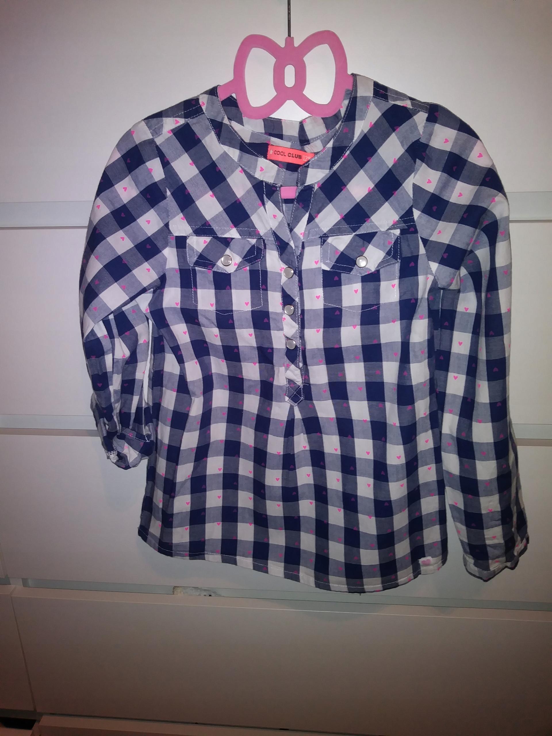 Koszula bluzeczka kratka rękaw roll-up 122-128