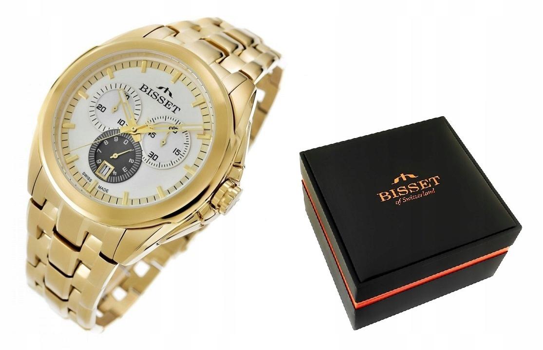 Zegarek Męski ZŁOTY BISSET CHRONO Swiss Made