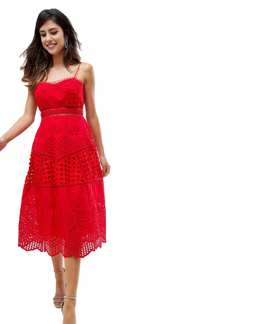 Sukienka MIDI CZERWONA KORONKA XL 42
