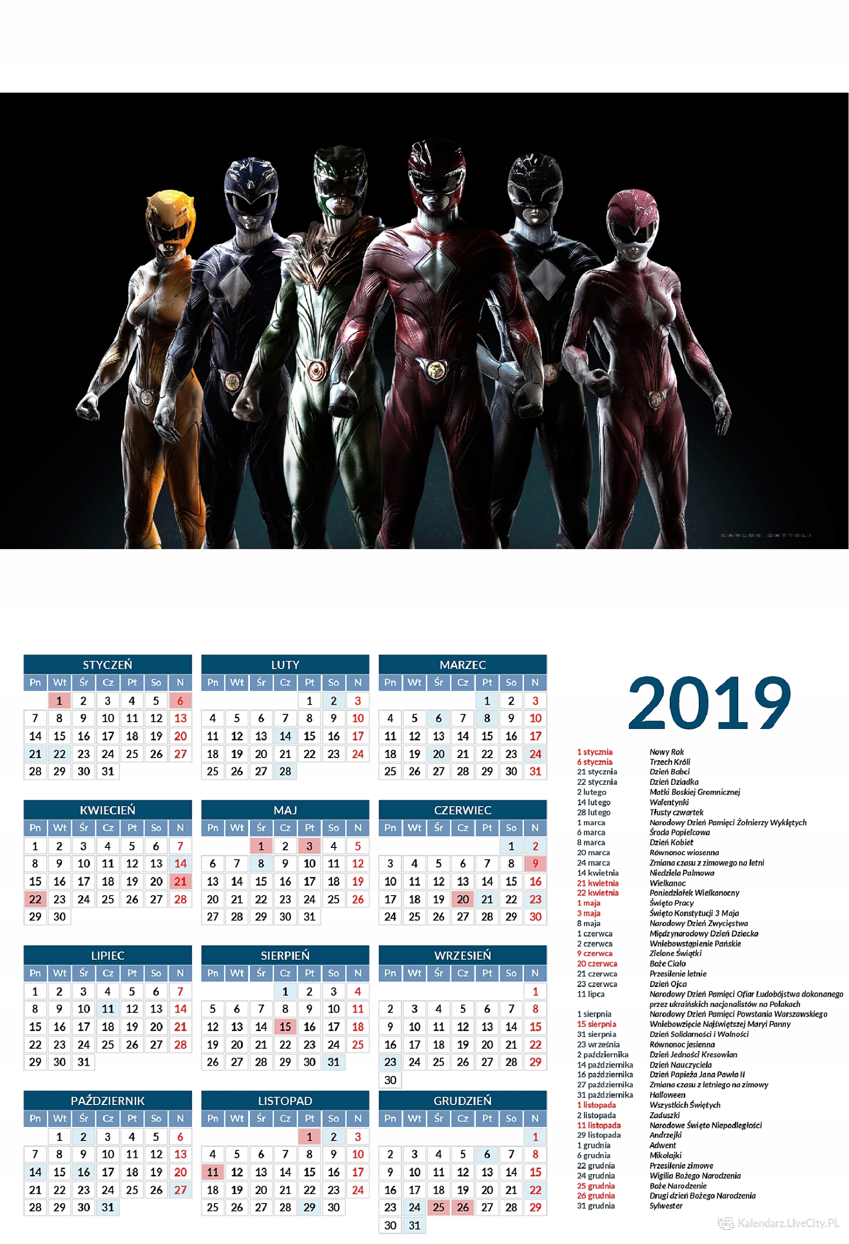 Kalendarz 2019 GRA POWER RANGERS WSZYSTKIE FIGURKI