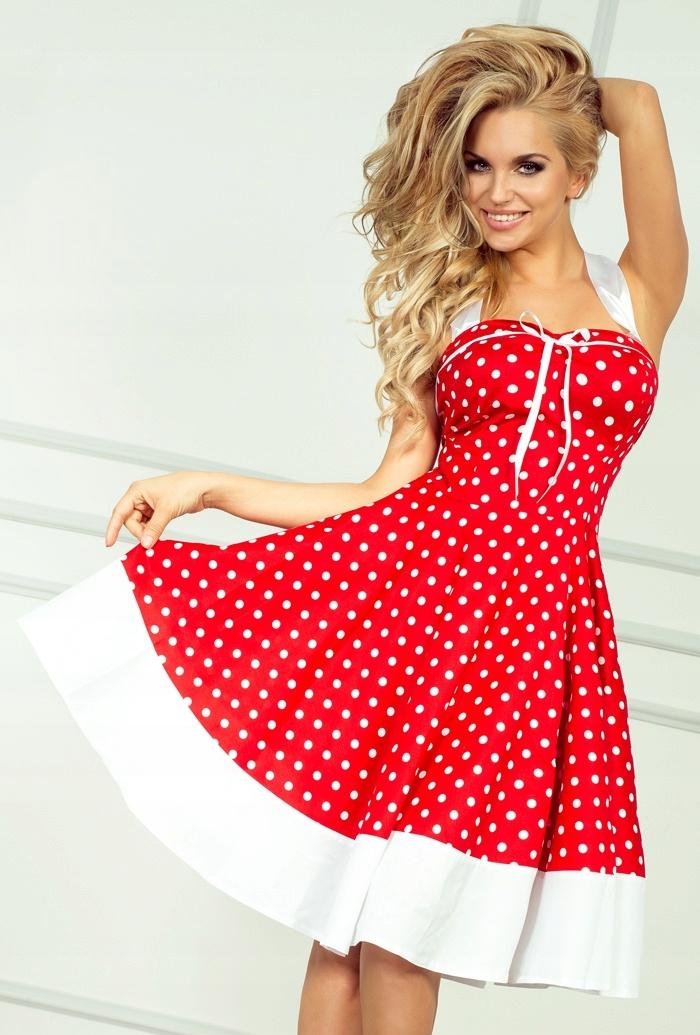Rockabilly pin up sukienka czerwona w białe kropki