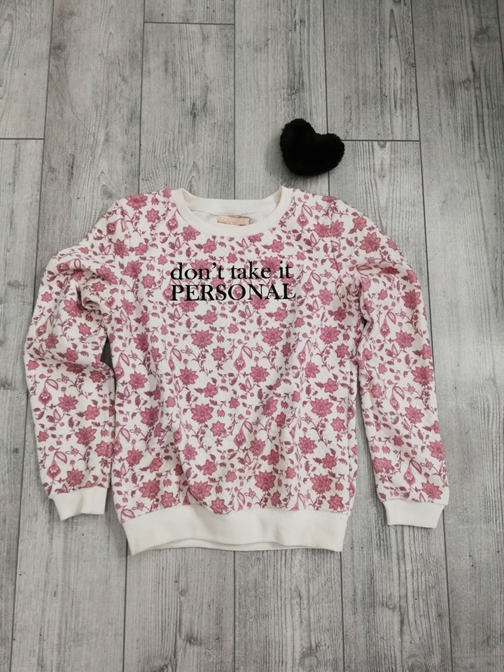 Bluza pikowana beżowa w kwiaty napis Bershka R. S