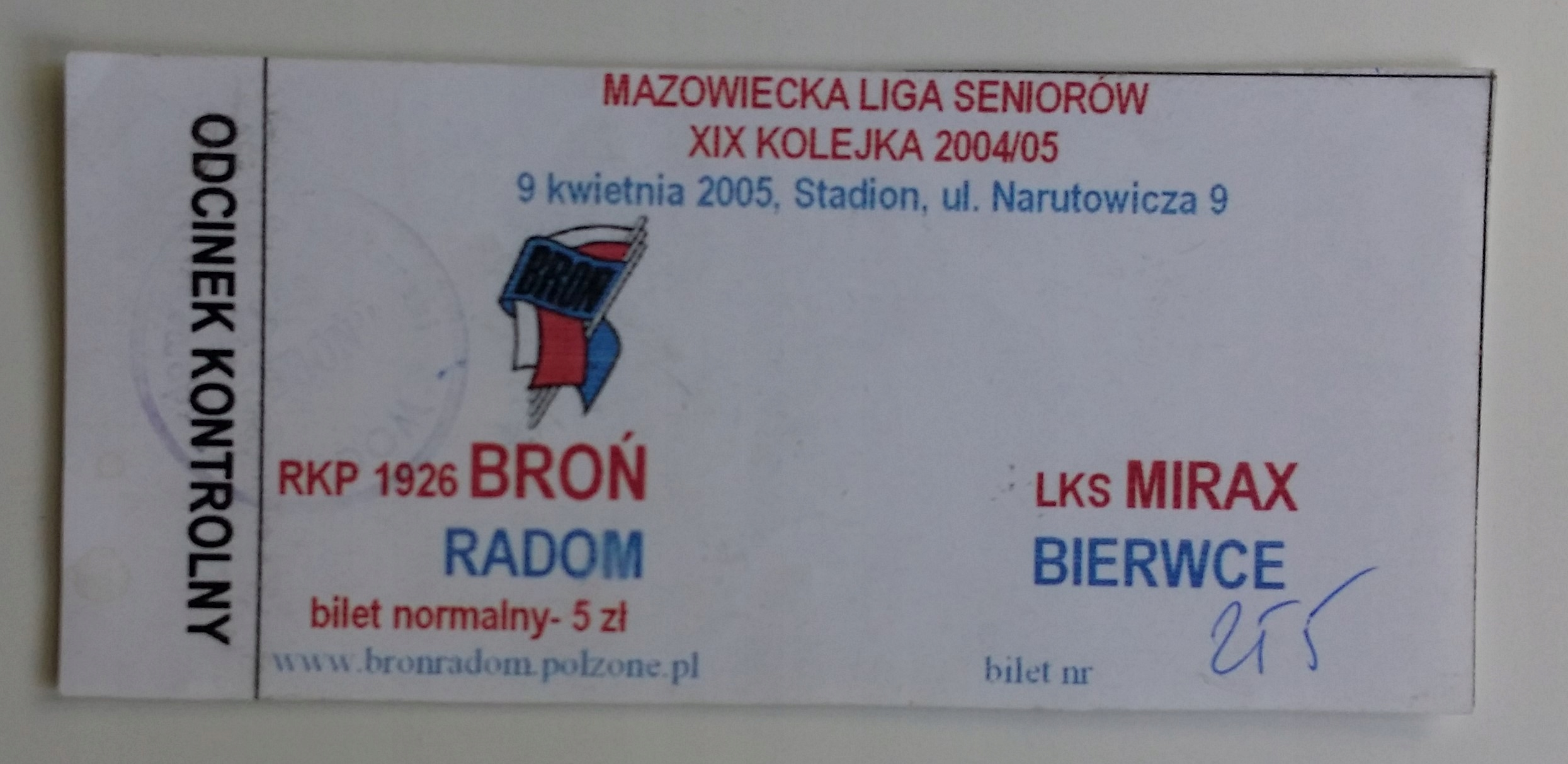Bilet Broń Radom - Mirax Bierwce 09.04.2005