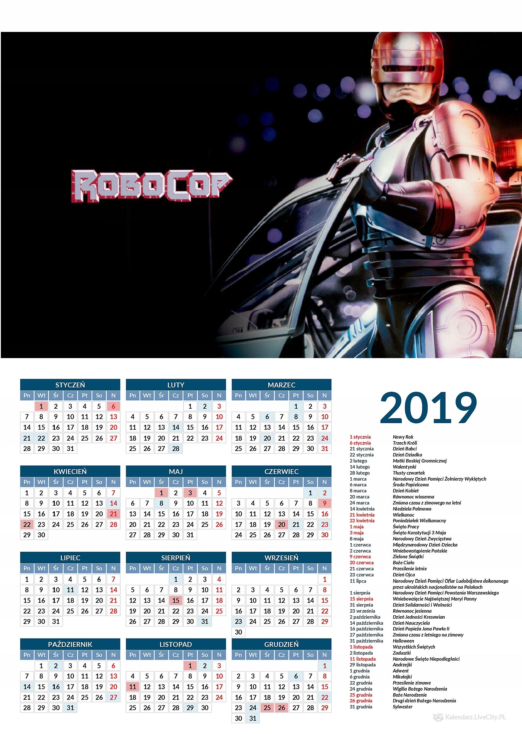 Kalendarz 2019 GRA ROBOCOP
