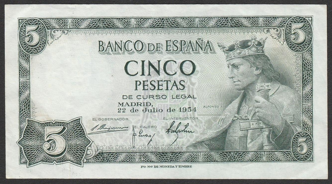 Hiszpania - 5 peset - 1954 - stan 2