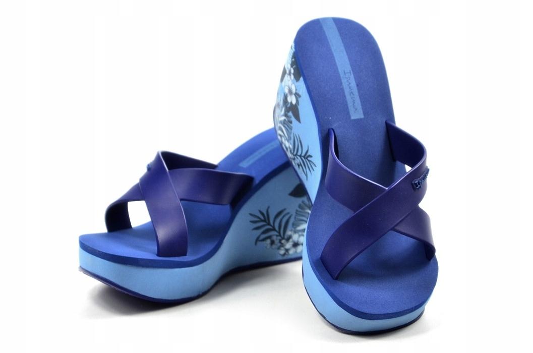Klapki 35/36 IPANEMA 82534 niebieskie kwiatki LIPS