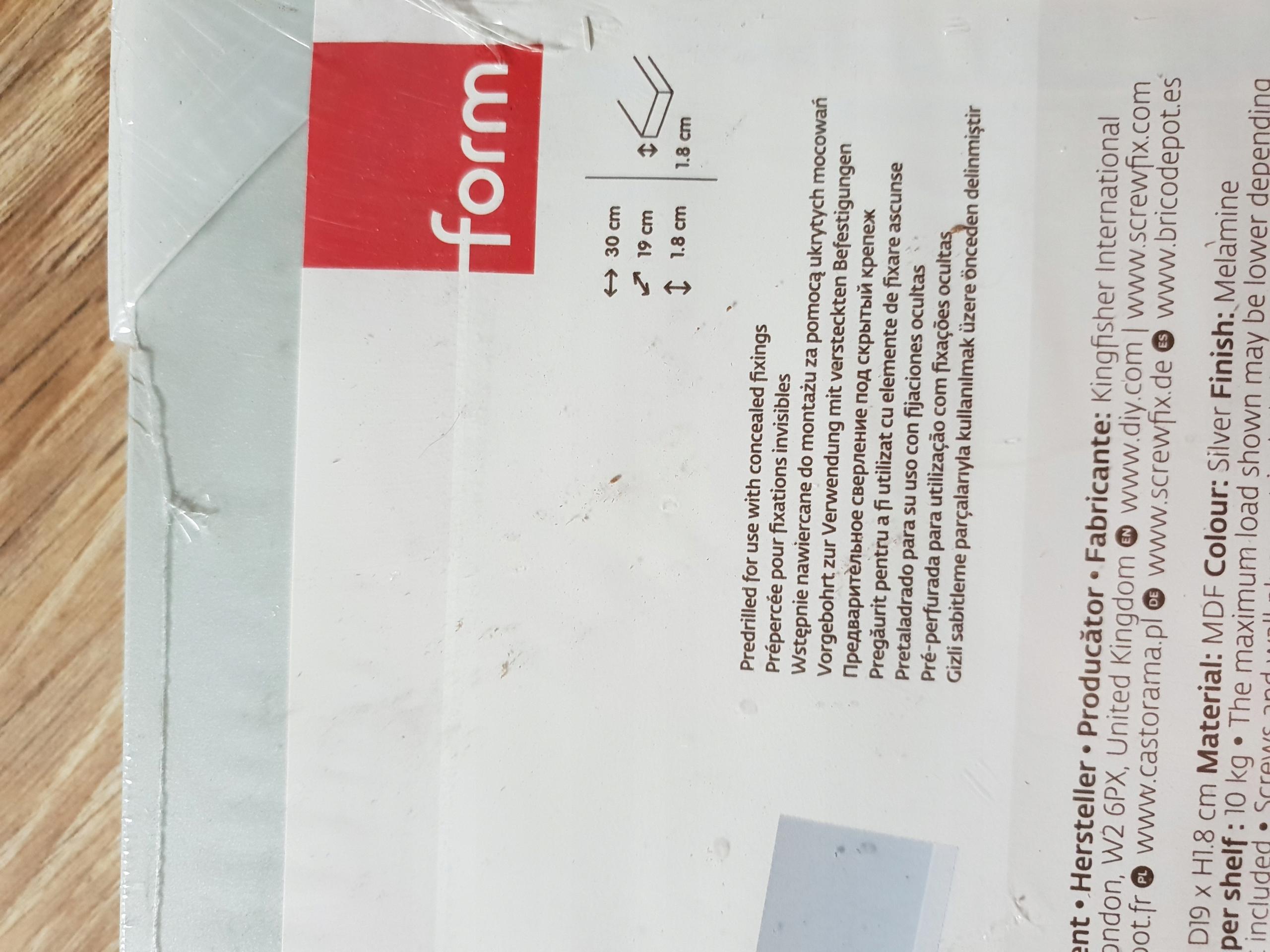 Półka Rigga Ukryte Mocowania Form Szary 30x19x18