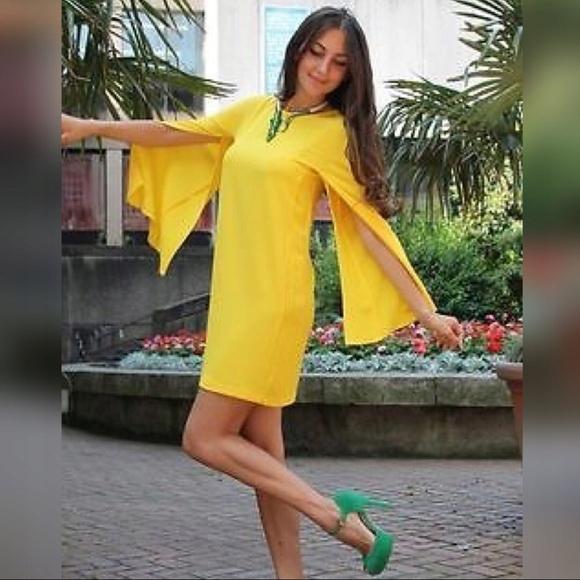 ZARA - żółta sukienka pelerynowy rekaw - S