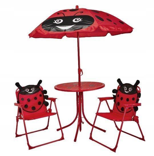 Zestaw Ogrodowy 2 Krzesła Parasol Stolik Biedronki