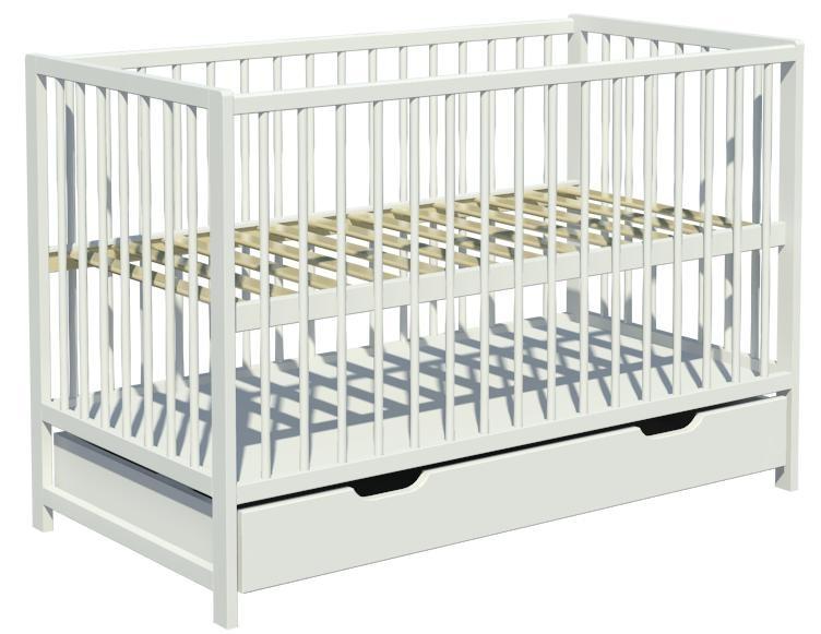 Łóżeczko dziecięce DOMINIK szuflada 120x60cm biały
