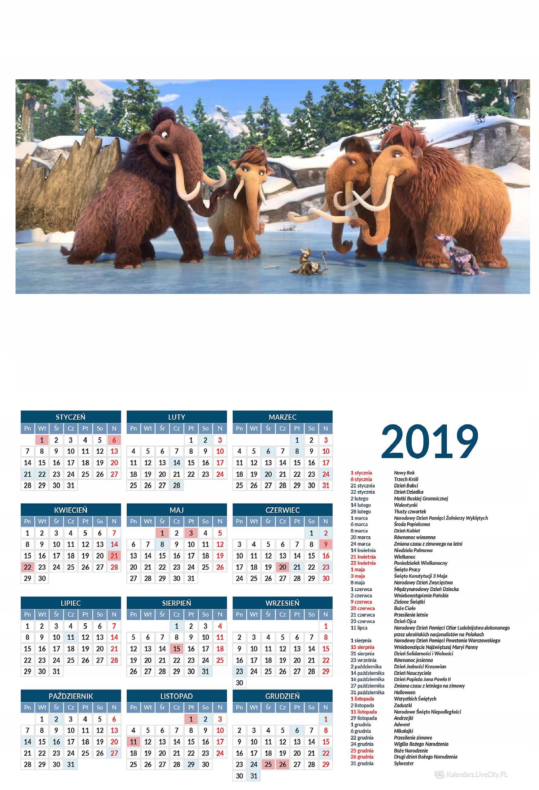 Kalendarz BAJKI Z EPOKA LODOWCOWA