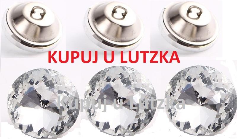 Biały Guzik szklany szlif diamentowy fi18 Wys. 0zł