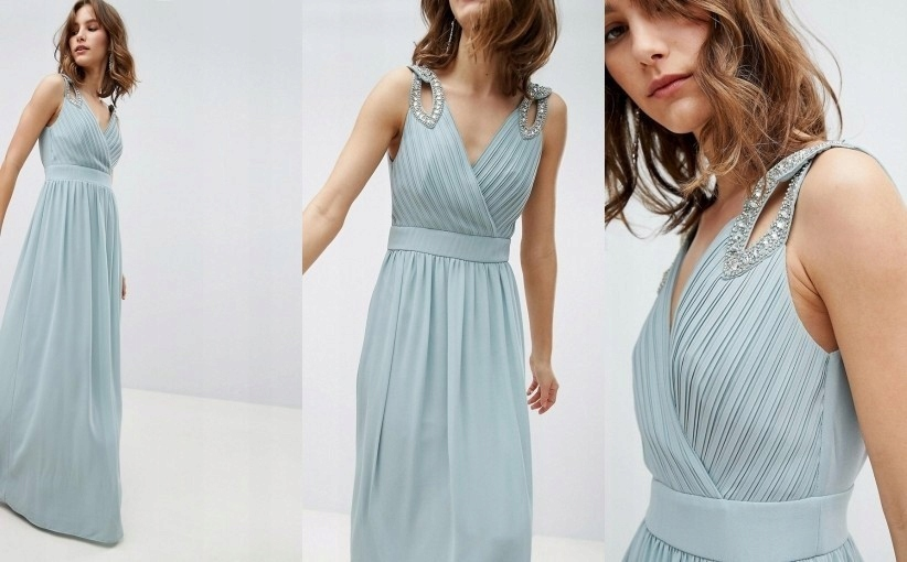 TFNC ŚLUB niebieska maxi sukienka zdobienia 36 S