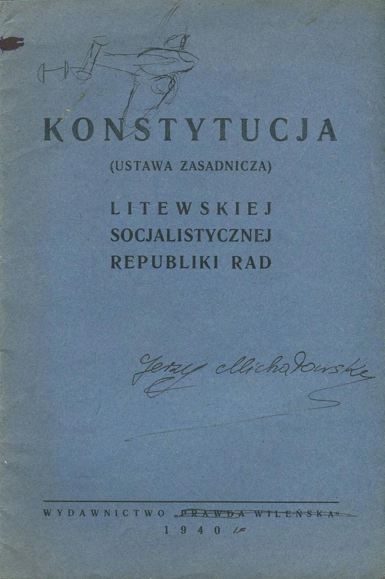 KONSTYTUCJA LITEWSKIEJ SRR Wilno 1940 Litwa
