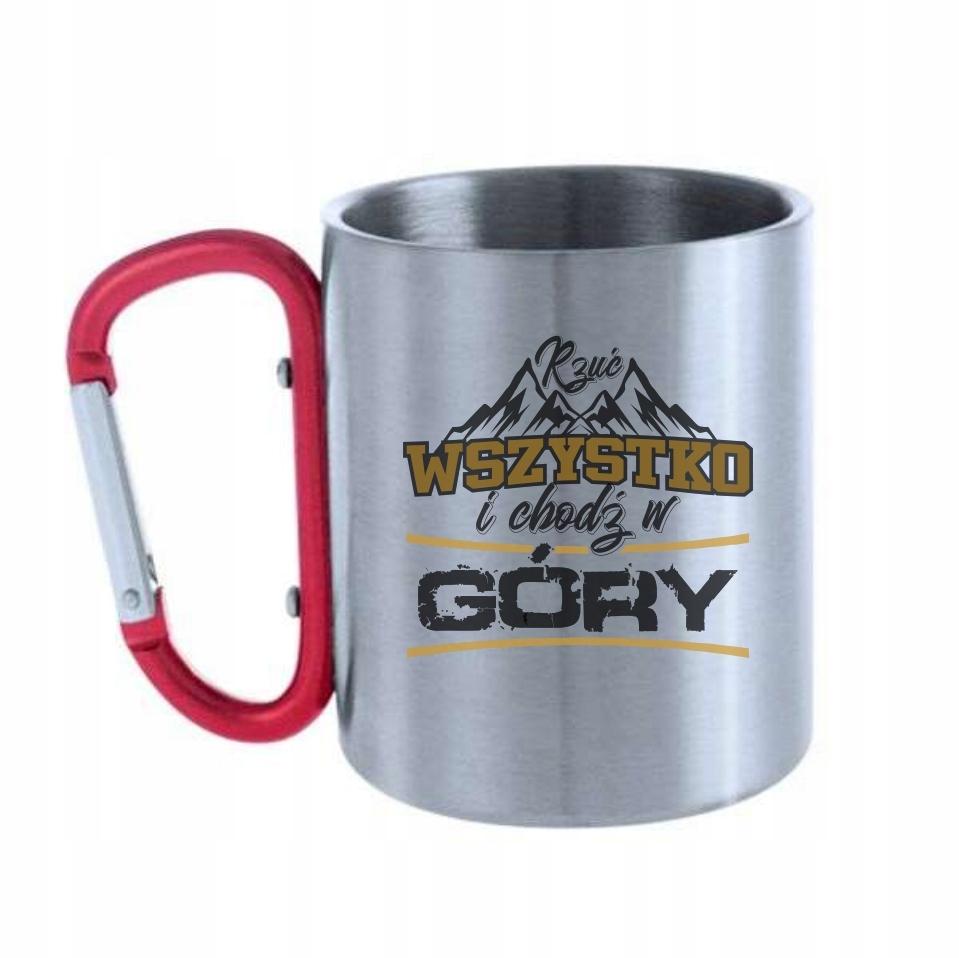 Kubek metalowy z karabinkiem góry wspinaczkaKKR017