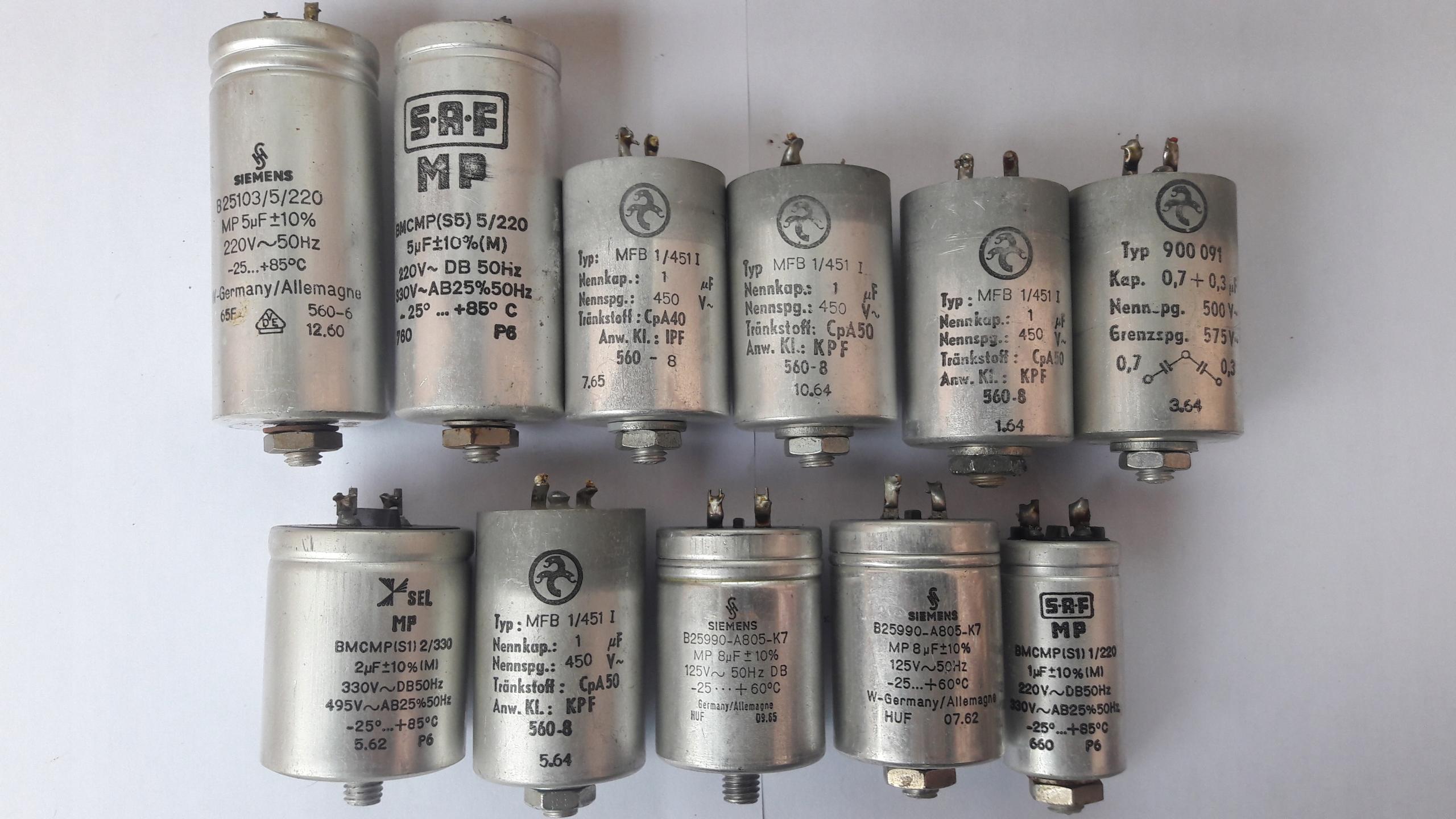 Kondensatory z układów zasilania silników magnetof