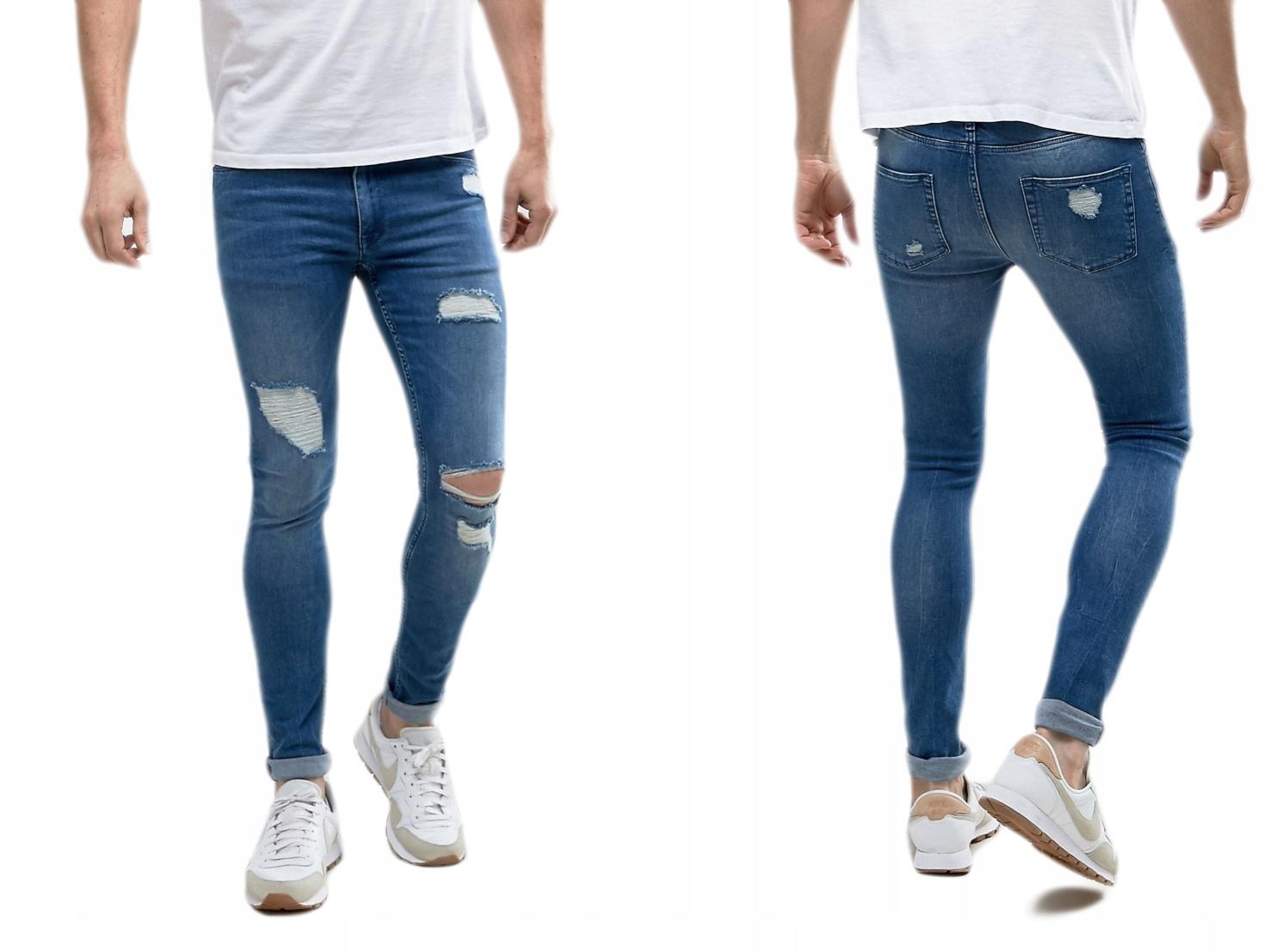 Design Męskie spodnie dziury jeans W30 L30