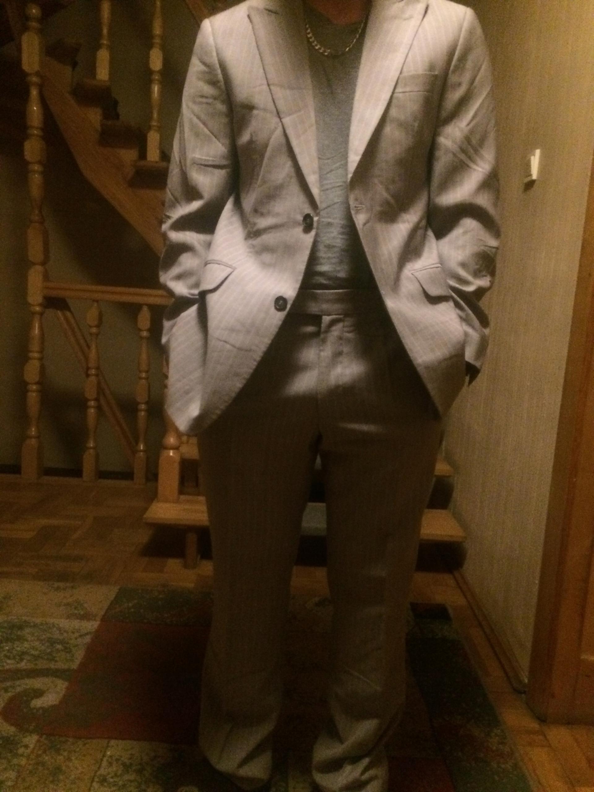 Garnitur Pierre Cardin szary różowa podszewka