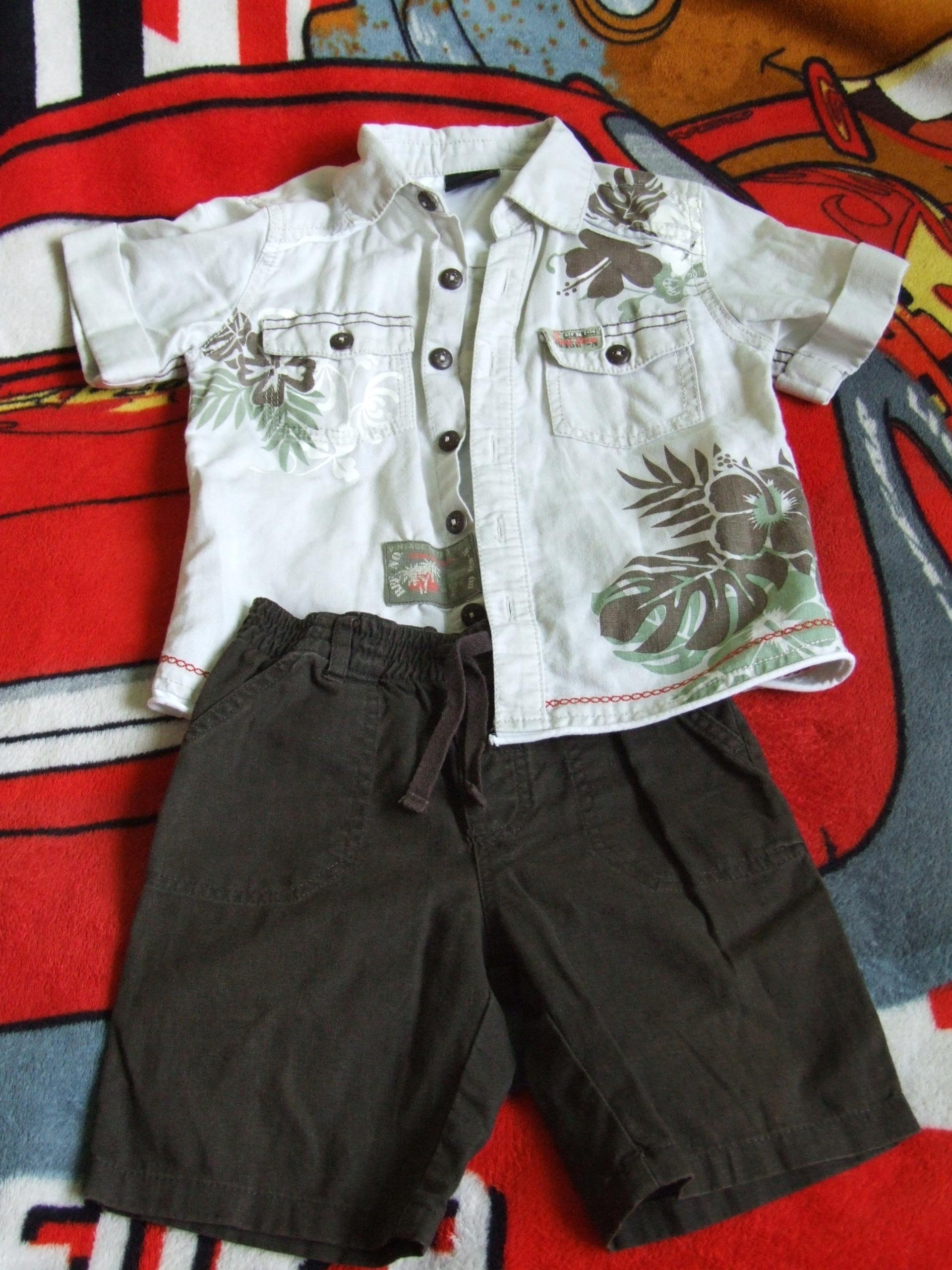 Zestaw lniany koszula i spodenki r. 92 (1,5-2 lat)
