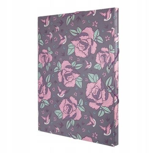 MILAN Teczka A4 z gumką Flowers róz