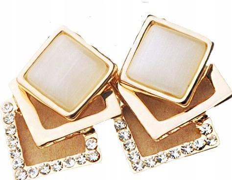 Kolczyki kwadraty złote cyrkonie k41