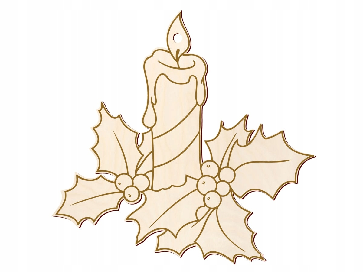 Świeczka z grawerem drewniana dekoracja 10 cm