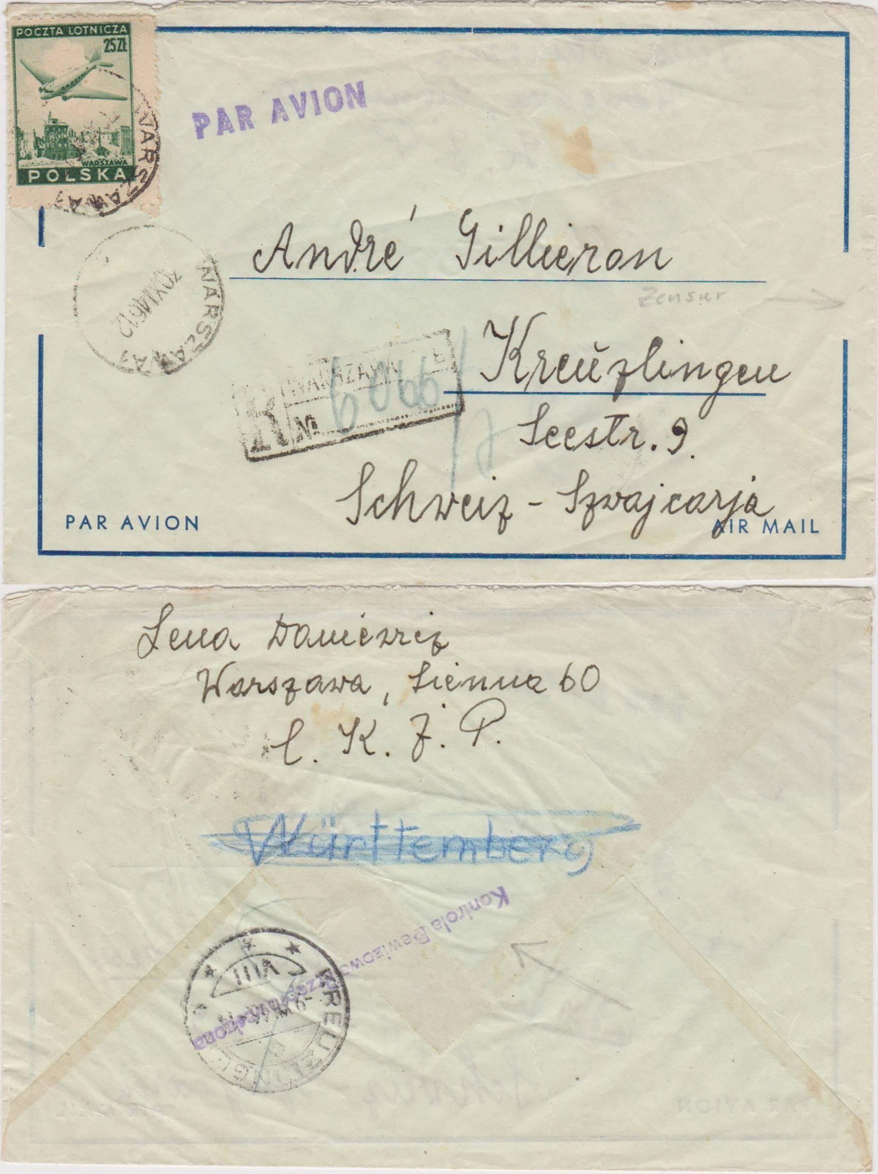 Polecony lotniczy Warszawa Swiss 1946 kontr. dew.