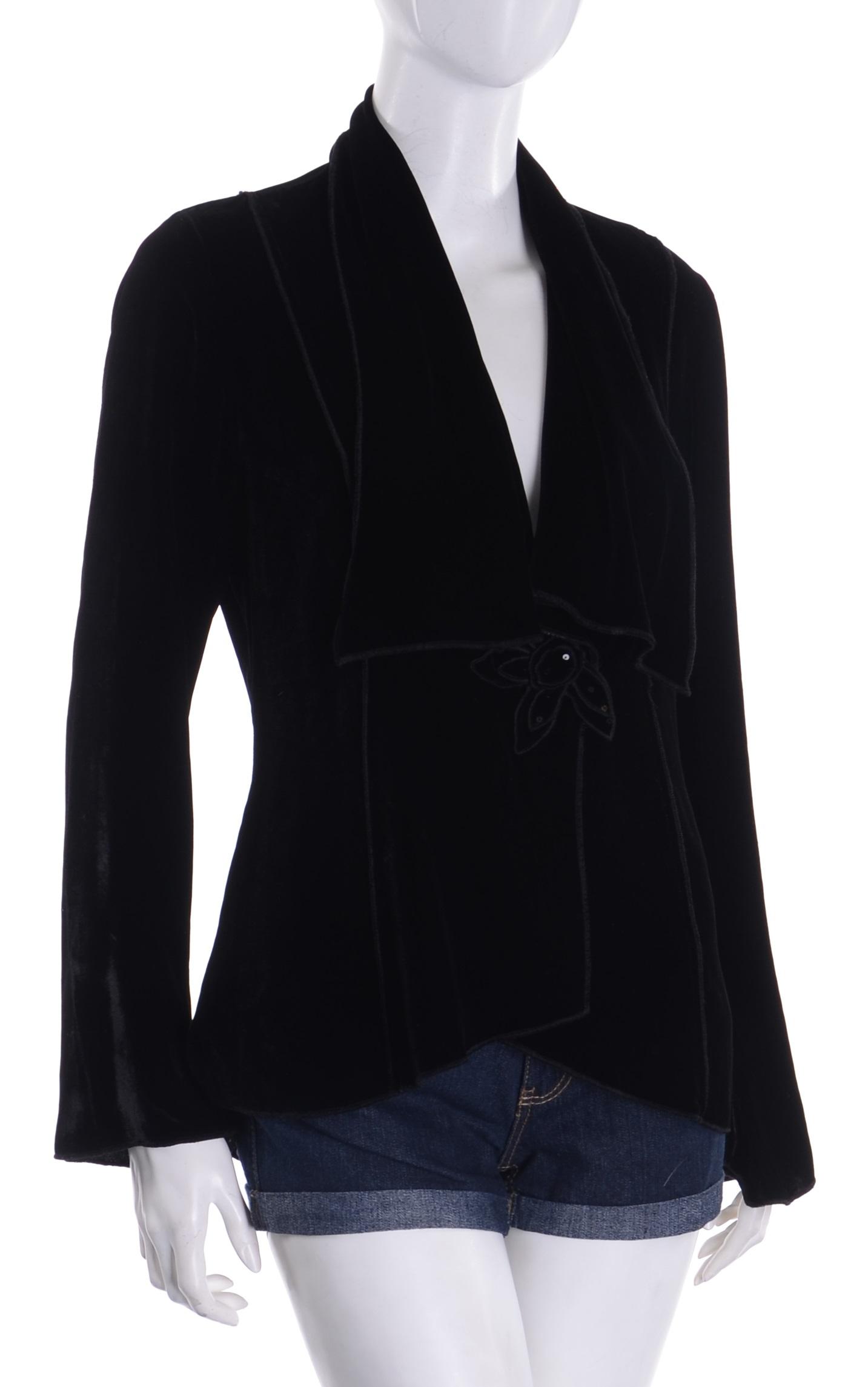 M&S czarna welurowa narzutka bluzka 40 MISIZM