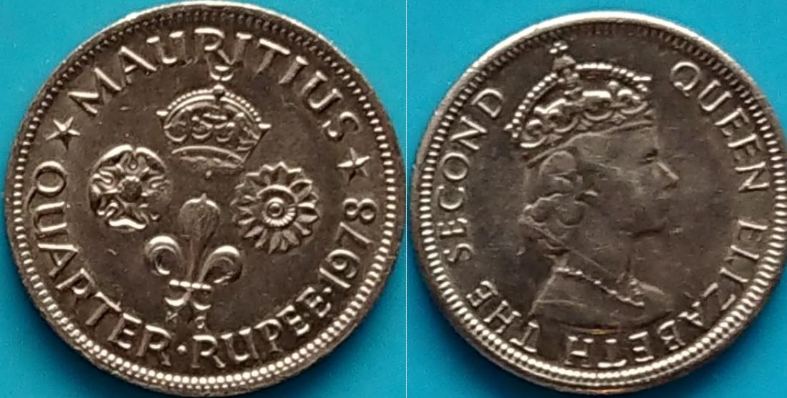 Mauritius 1/4 rupii 1978r. KM 36 piękny stan
