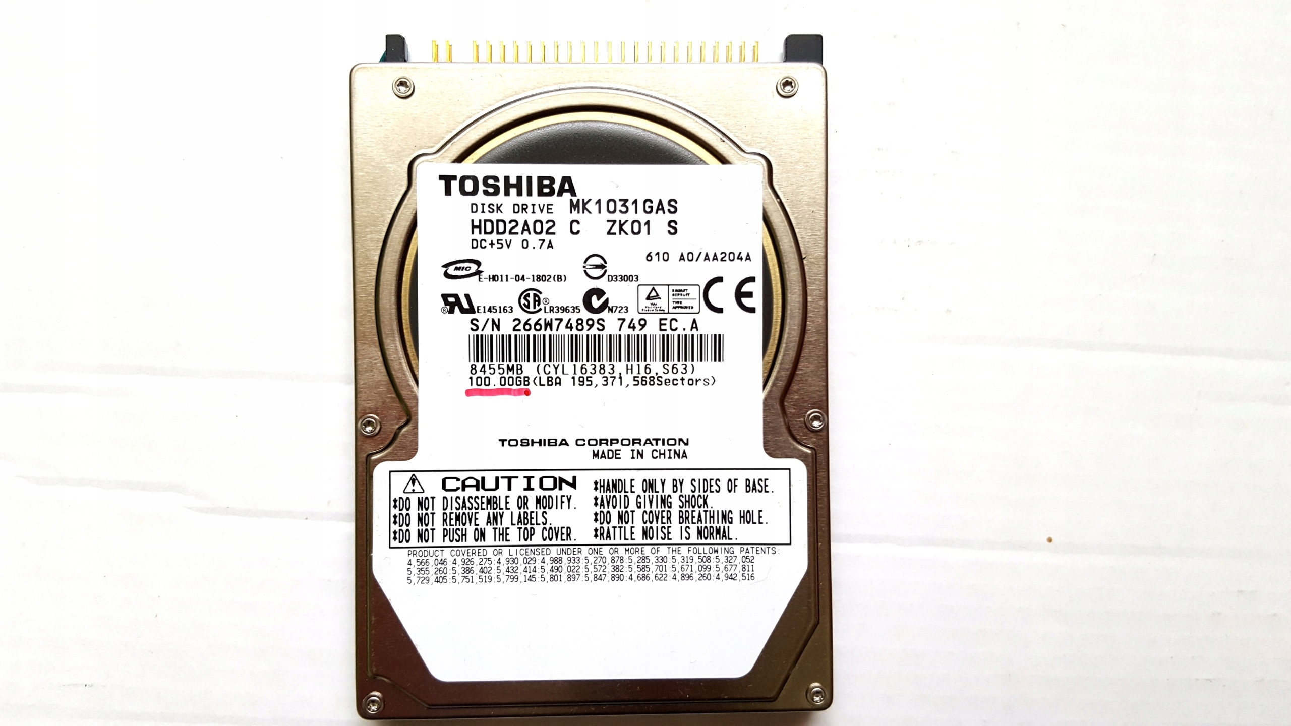 "DYSK TWARDY 2.5"" TOSHIBA 100GB ATA do Laptopa"