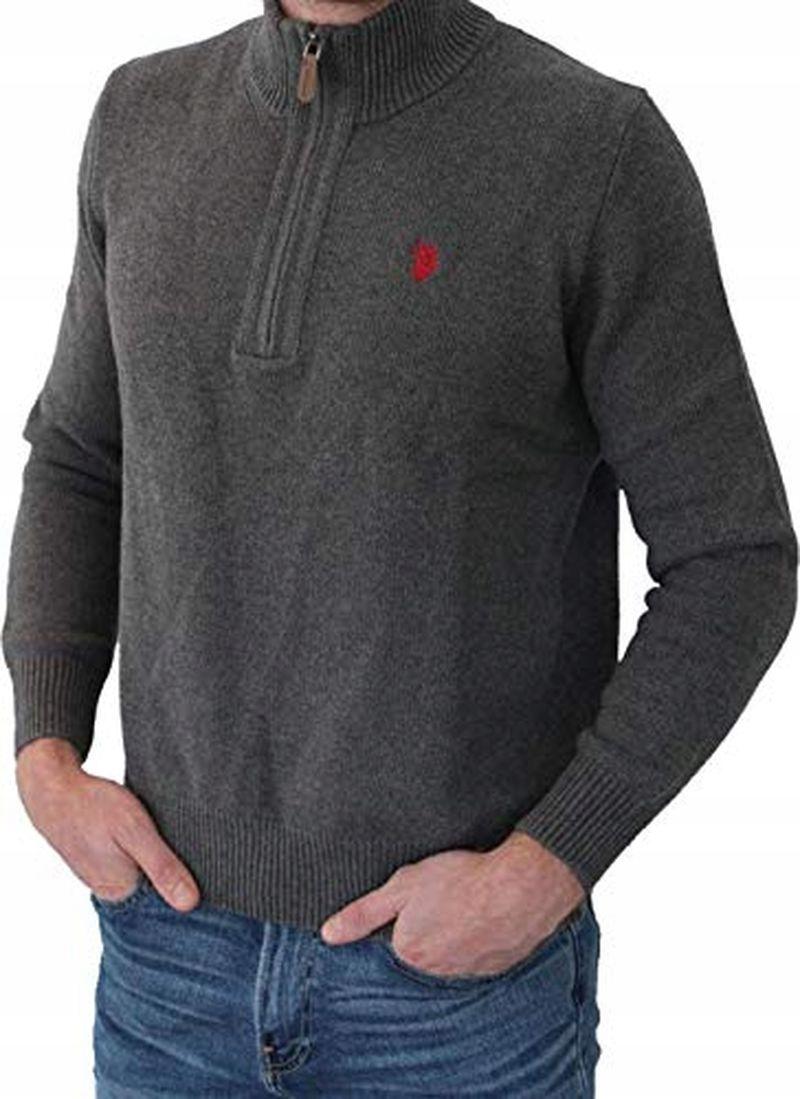 U.S. Polo Assn 43983 Sweter Męski Bawełna Szary XL