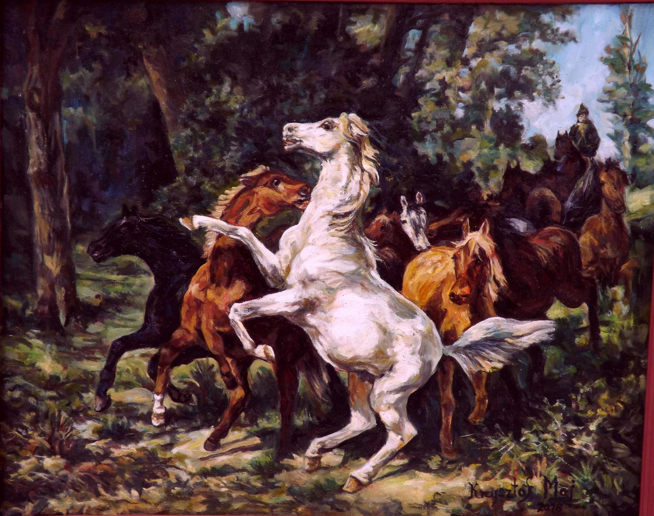 """Obraz olejny pt """" Tabun spłoszonych koni"""