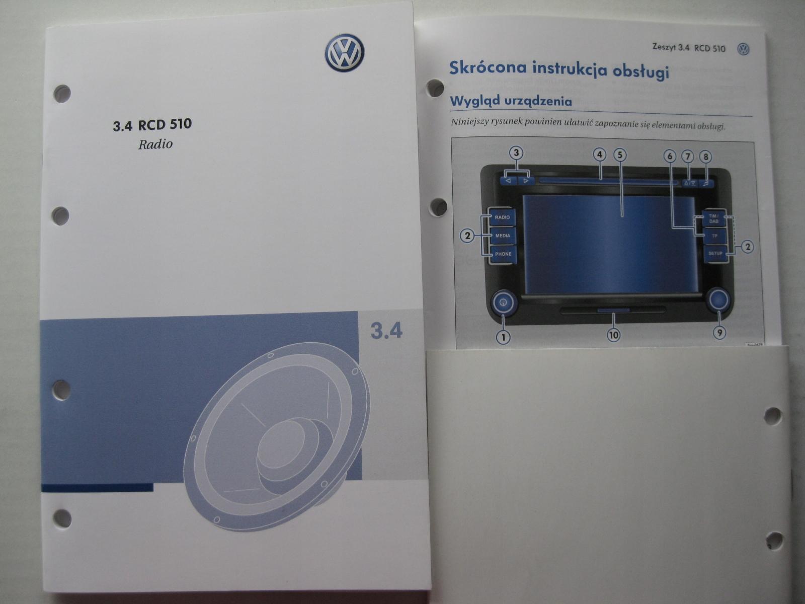 VW RCD 510 Passat B6 instrukcja radia VW GOLF V