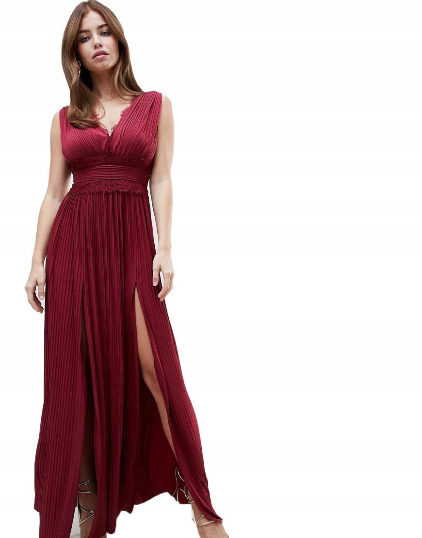 Sukienka MAXI PLISOWANA KORONKA XS 34