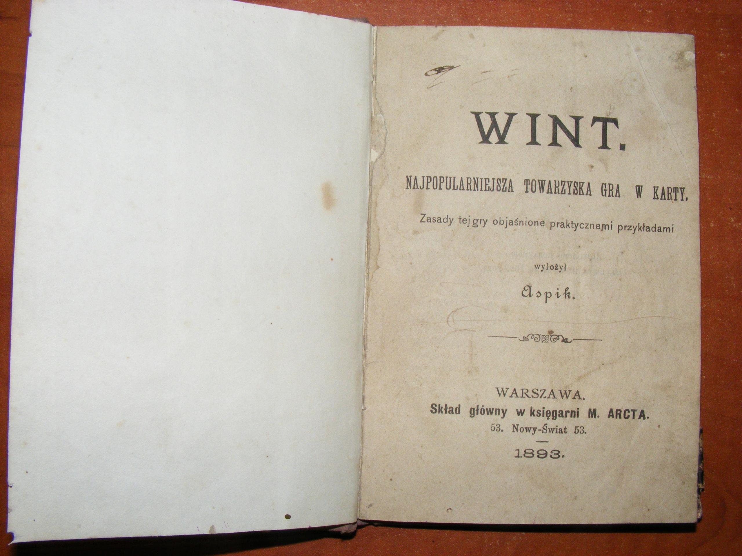 ASPIK - WINT NAJPOPUL.TOWARZYSKA GRA W KARTY 1893