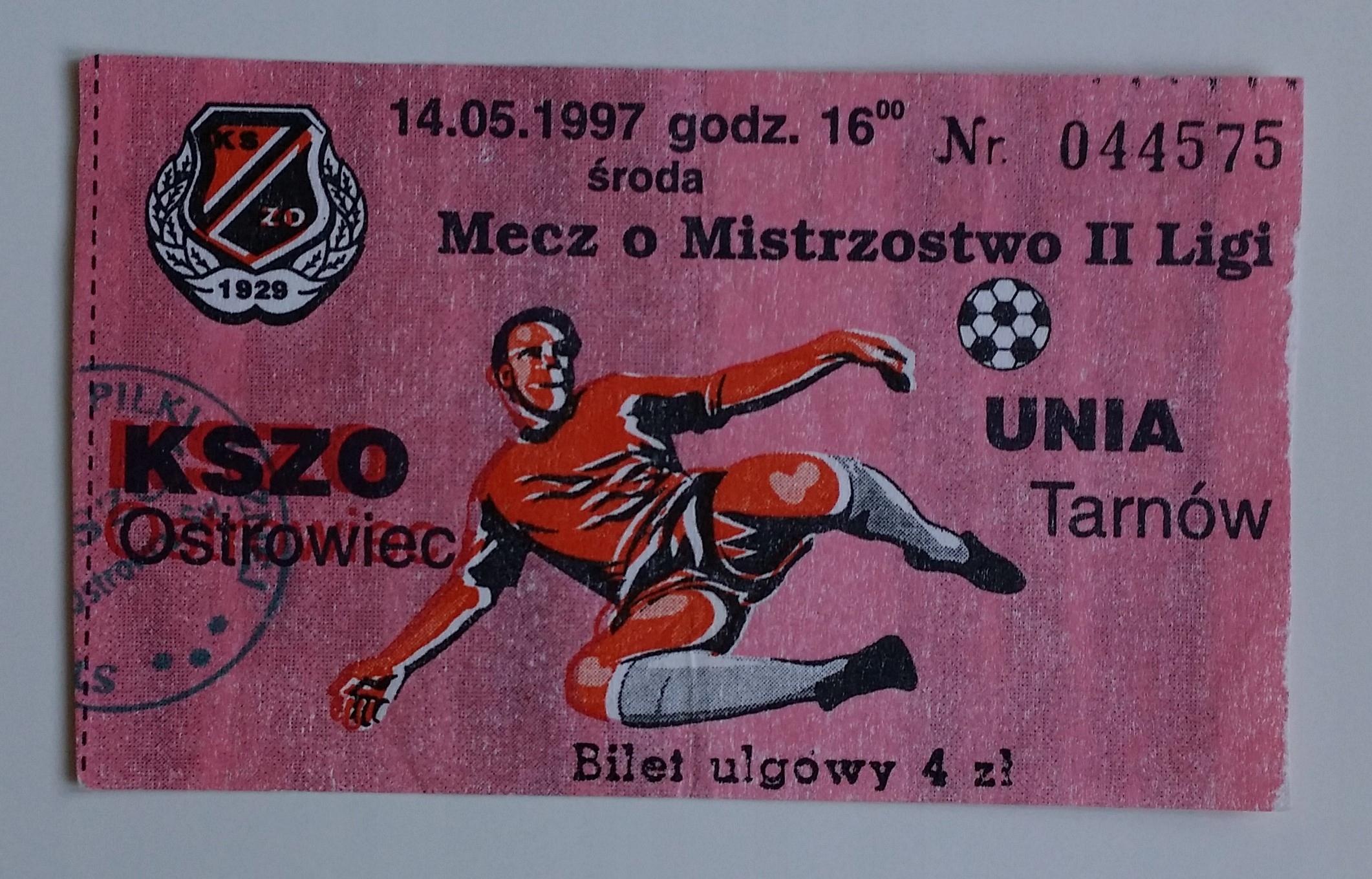 Bilet KSZO Ostrowiec - Unia Tarnów 14.05.1997