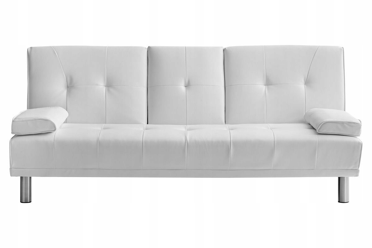 Wszystkie nowe Sofa rozkładana biała pikowana skóra ekologiczna - 7448348559 MO14