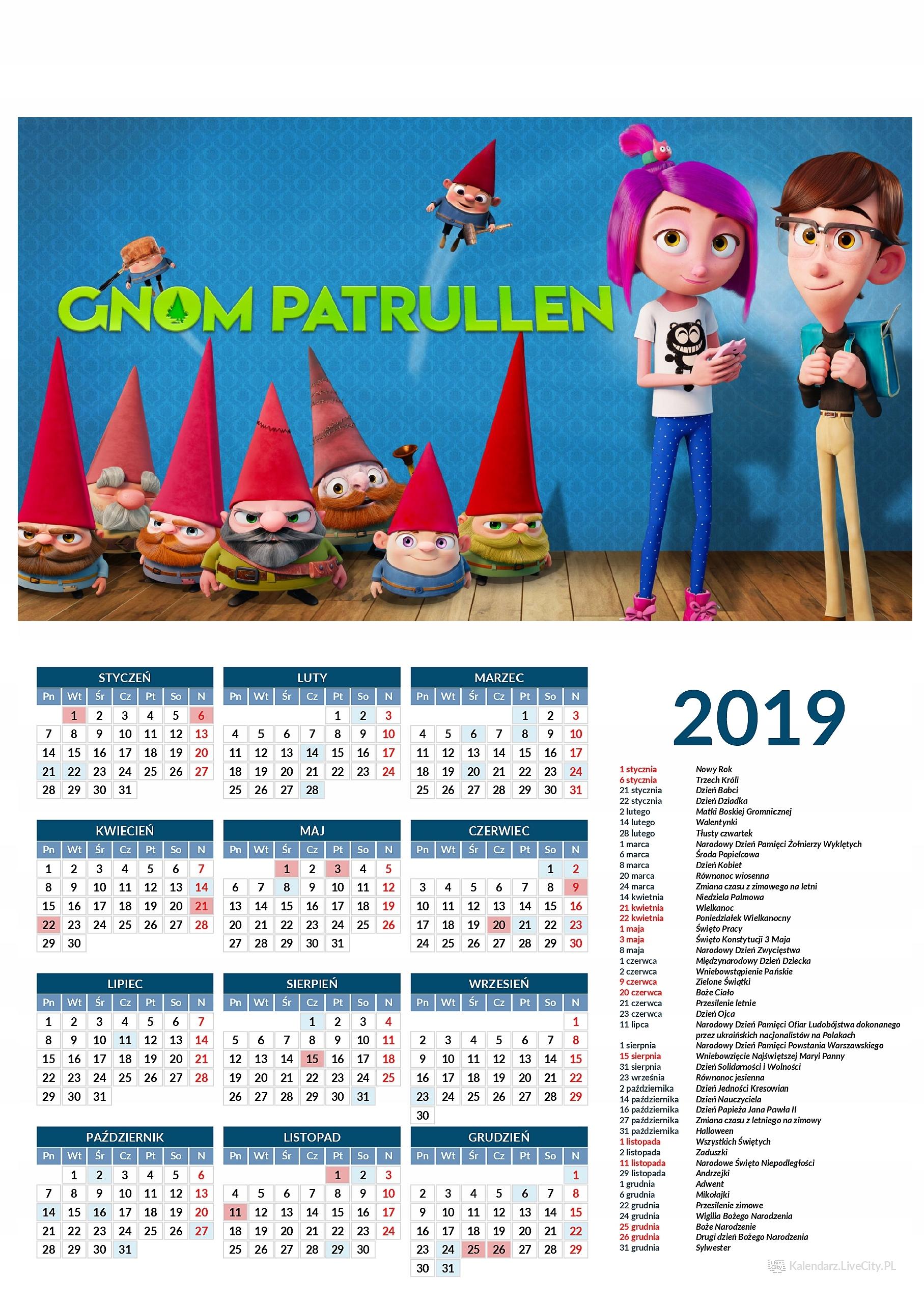 Kalendarz 2019 film gnomy rozrabiają