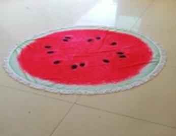 Duży ręcznik plażowy okrągły pled arbuz