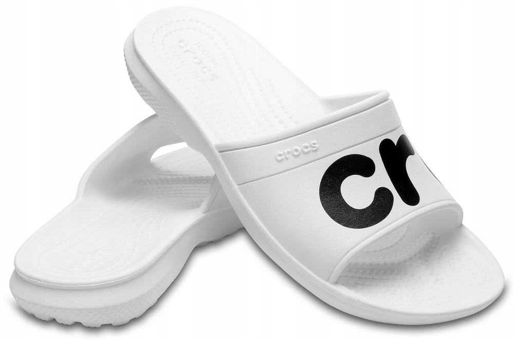 CROCS CLASSIC GRAPHIC SLIDE White/Black 43-44 USA