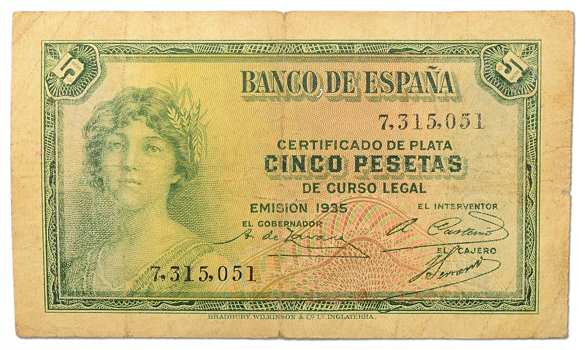 9.Hiszpania, 5 Peset 1935, P.85.a, St.3